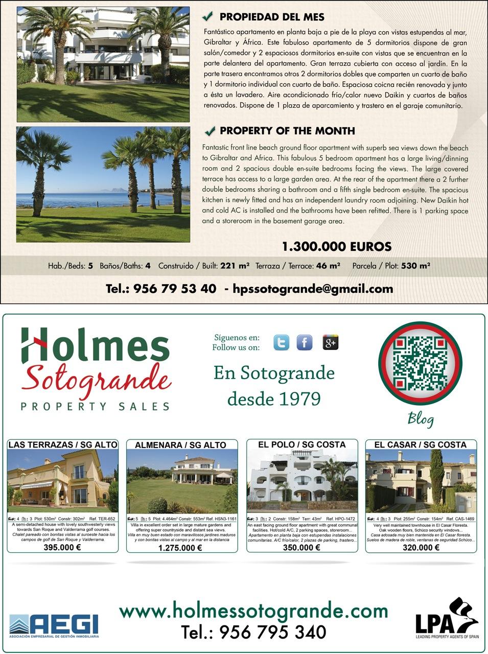Our Advert In El Periódico De Sotogrande January 2015